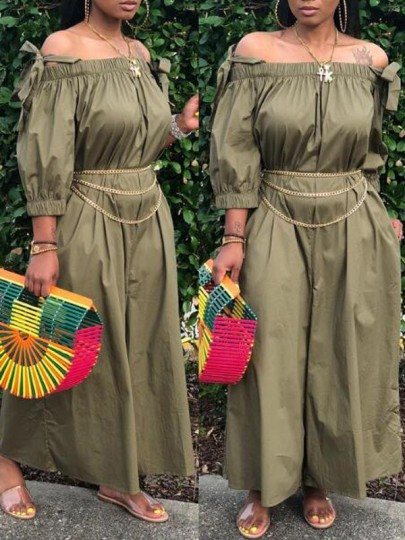 Army Green Pockets Off Shoulder Spaghetti Strap 3/4 Sleeve Wide Leg Long Jumpsuit