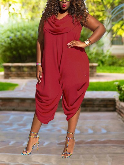 Burgundy Pockets Pleated Draped Colla Plus Size Harem Casual Long Jumpsuit