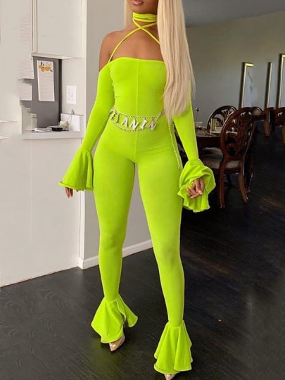 Neon Green Halter Neck Lace-up Off Shoulder Backless Bodycon Bell Sleeve Party Bell Bottomed Flares Long Jumpsuit