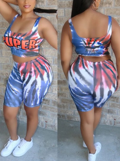 """Blue """"SUPER"""" Print Tie Dyeing Spaghetti Strap Two Piece Casual Sports Party High Waisted Short Jumpsuit"""