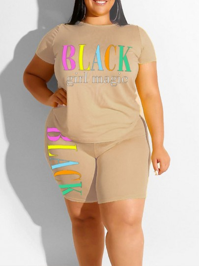 """Apricot """"BLACK GIRL MAGIE"""" Print Two Piece Plus Size Bodycon Casual High Waisted Short Jumpsuit"""