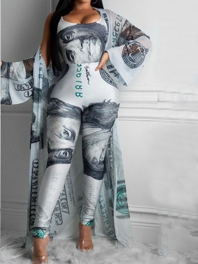 Blue US Dollar Print Three-piece Set Whith Coat Bodysuit Party High Waisted Long Jumpsuit
