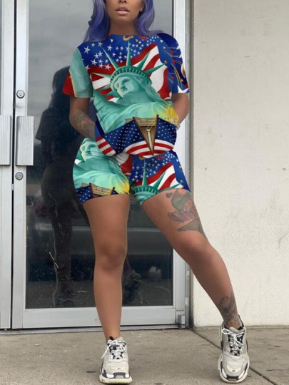 Blue Statue of Liberty American Flag Pattern Pockets Short Sleeve Two Piece Short Jumpsuit