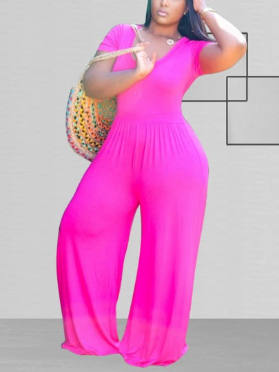 Rose Carmine Round Neck Long Sleeve Plus Size Casual Bohemian Beach High Waisted Wide Leg Palazzo Long Jumpsuit