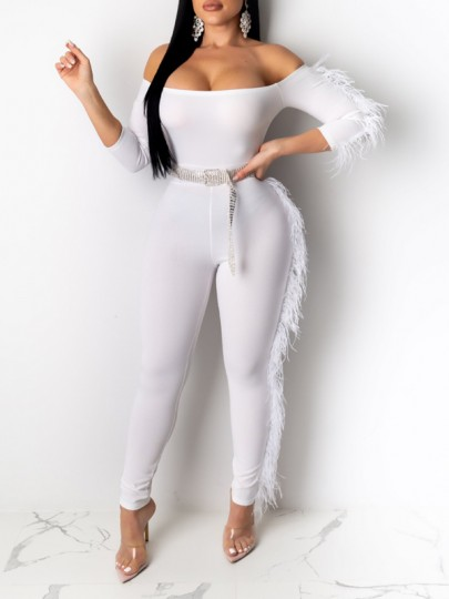 White Off Shoulder Feather Bodycon Party Long Jumpsuit