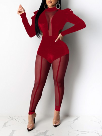 Red Patchwork Grenadine Bodycon Sheer Party Long Jumpsuit