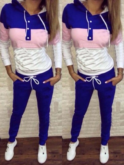 Blue Drawstring Buttons Pockets Bodycon Going out Jumpsuit