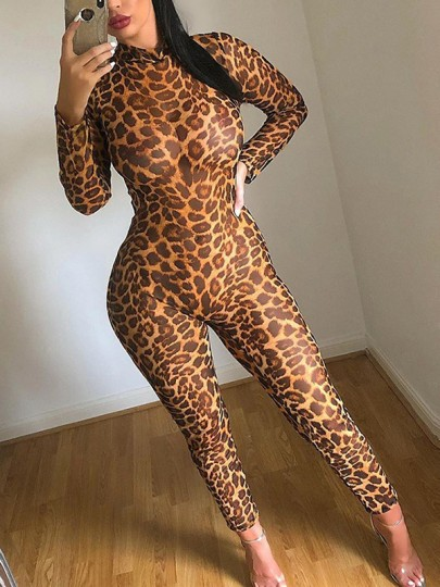 Brown Leopard Print Grenadine Band Collar Round Neck Long Sleeve Cheetach Bodysuit Sheer Clubwear Long Jumpsuit