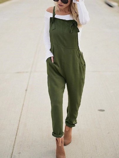 Army Green Pockets Shoulder-Strap Overall Pants Loose Casual Long Jumpsuit