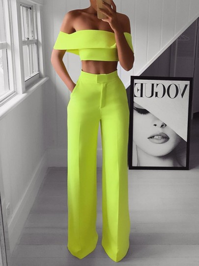 Neon Yellow Ruffle Off Shoulder Two Piece High Waisted Wid Leg Long Work Jumpsuits