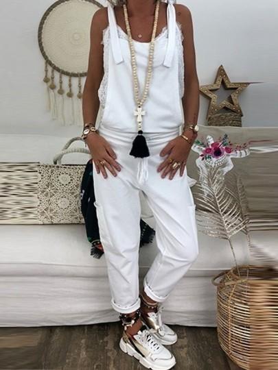 Weiße Taschen Beiläufige Oversize Overall Mit Trägern Damen Latzhose Lang Jumpsuit Mode