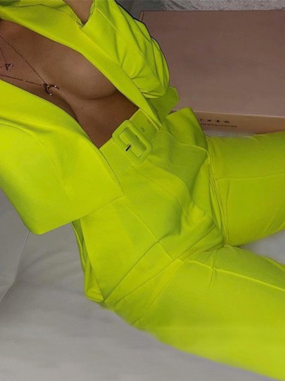 Neon Yellow Pockets Tailored Collar Long Sleeve Short Suit Outwear Two Piece High Waisted Long Suit Pants Suit Set Work Jumpsuit