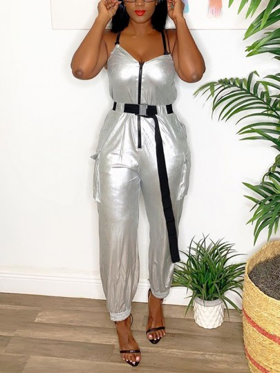Silver Zipper Pockets Buckle Belt Shoulder-Strap V-neck Sleeveless Reflective Clubwear Long Jumpsuit