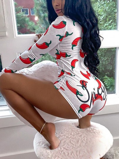 White Floral Buttons Chili Print V-neck Long Sleeve Shorts Pajamas Jumpsuit Sleepwear