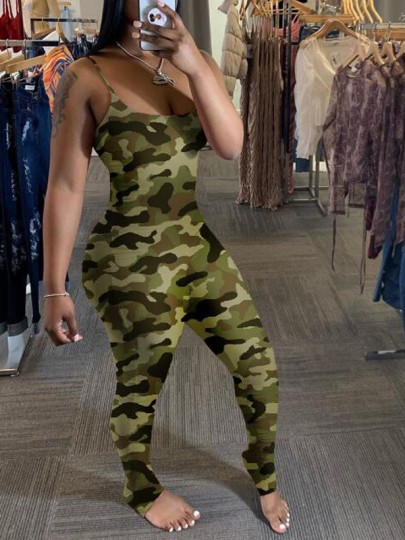 Army Green Camouflage Pattern Pleated Ruched Spaghetti Strap Square Neck One Piece Long Jumpsuit
