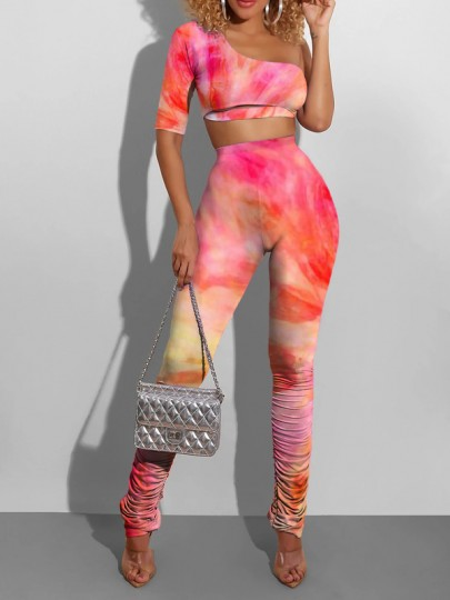 Red-Orange Tie Dyeing Asymmetric Shoulder Two Piece Party High Waisted Long Jumpsuit