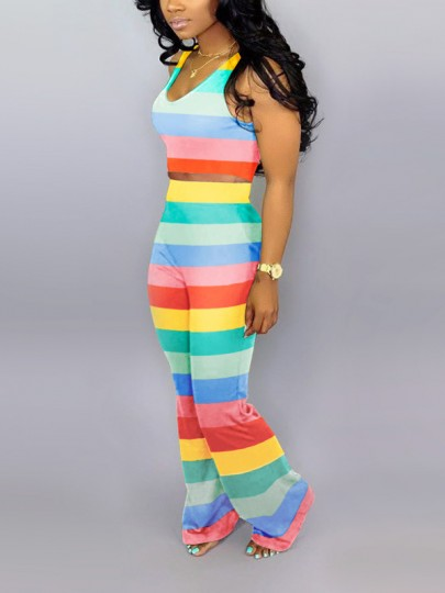 Blue Rainbow Striped Two Piece Jamaica Party High Waisted Bell Bottomed Flares Long Jumpsuit