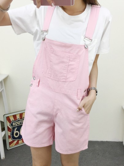 Pink Pockets High Waisted Cute Jeans Short Jumpsuit Denim Overall Pants