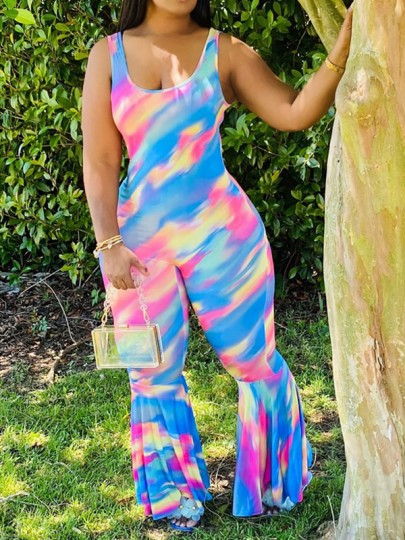 Blue Tie Dyeing Spaghetti Strap Bodycon Bohemian Beach Bell Bottomed Flares Long Jumpsuit