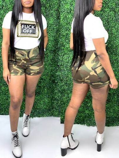 """Green """"FUCK OFF"""" Print Camouflage Two Piece High Waisted Casual Short Jumpsuit"""