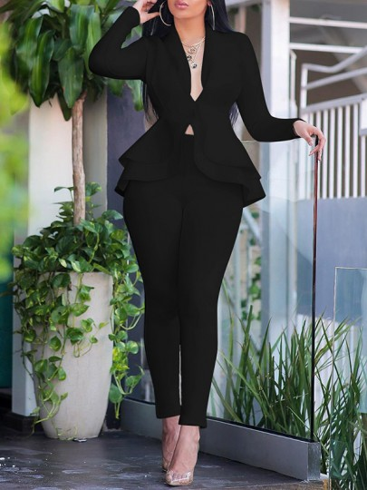 Black Layers Of Ruffle Buttons Tailored Collar V-neck Peplum Blazer Suits Two Piece High Waisted Work Long Jumpsuit
