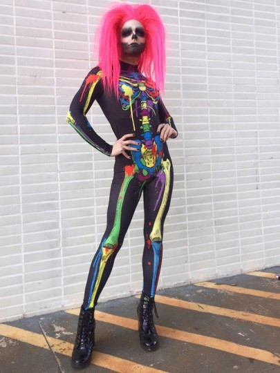 Black Colorful Skeleton Print Band Collar Long Sleeve Bodysuit Halloween Long Jumpsuit