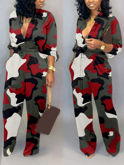 Blue Camouflage Buttons Belt Pockets Turndown Collar Long Sleeve Casual Wide Leg Palazzo Long Jumpsuit