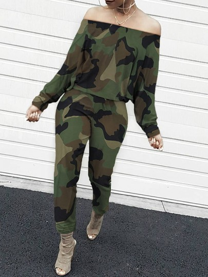 Green Camouflage Print Off Shoulder Long Sleeve Casual Long Jumpsuit
