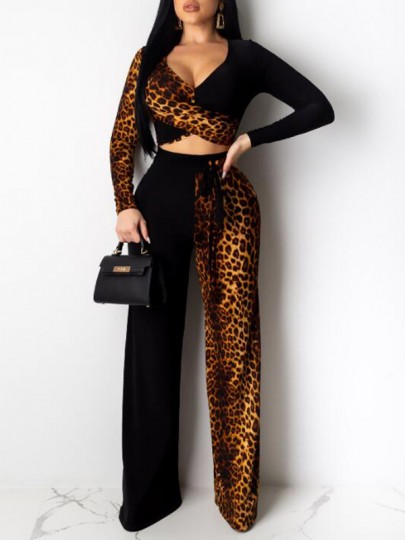Black-Brown Patchwork Leopard Pattern Sashes High Waisted Two Piece Wide Leg Long Jumpsuit