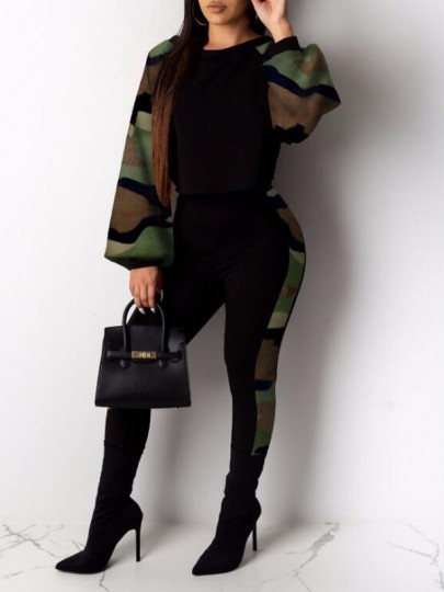 Army Green Camouflage Pattern Lantern Sleeve One Piece Clubwear Party Long Jumpsuit