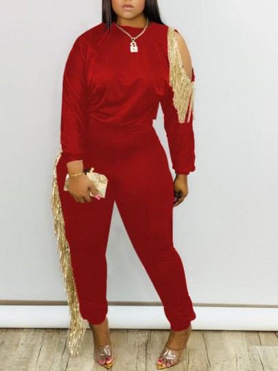 Red Patchwork Tassel Irregular Cut Out High Waisted Two Piece Long Jumpsuit