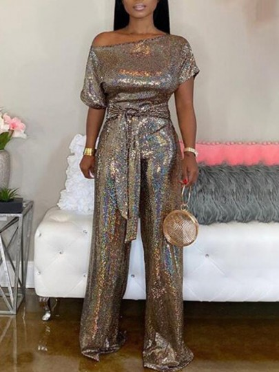 Golden Sequin One-Shoulder Sashes Half Sleeve NYE Banquet Birthday Party Wide Leg Long Jumpsuit