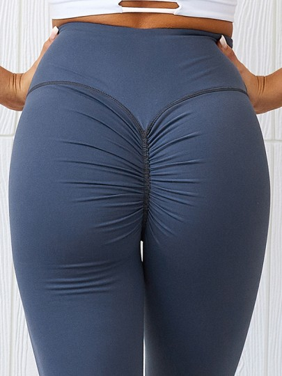 Blue Pleated Skinny Yoga High Waisted Fashion Sports Legging