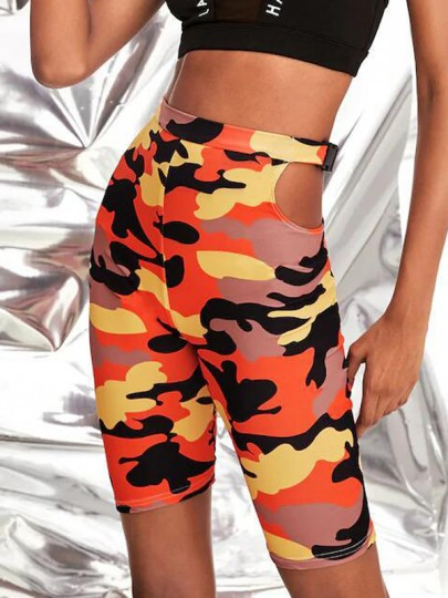 Orange Camouflage Cut Out Hohe Taille Push Up Schlank Sports Kurz Leggings Radhose Damen