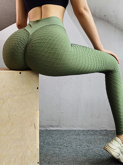 Green Plaid Print Ruched High Waisted Big Booty Sports Yoga Long Legging