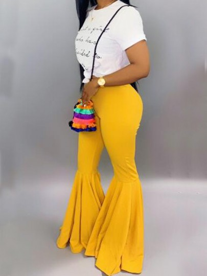 Yellow Draped High Waisted Extreme Flare Bell Bottom Vintage Long Pants
