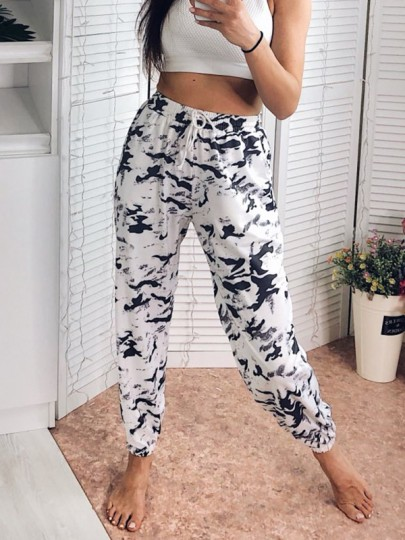 Grey Ink Tie Dye Drawstring High Waisted Fashion Sports Work Out Jogger Sweat Pants