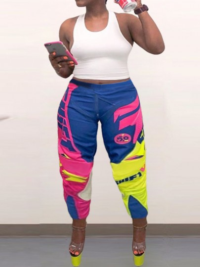 Blue Tie Dyeing Pleated Scrunch Plus Size Casual Sports High Waisted Long Pant