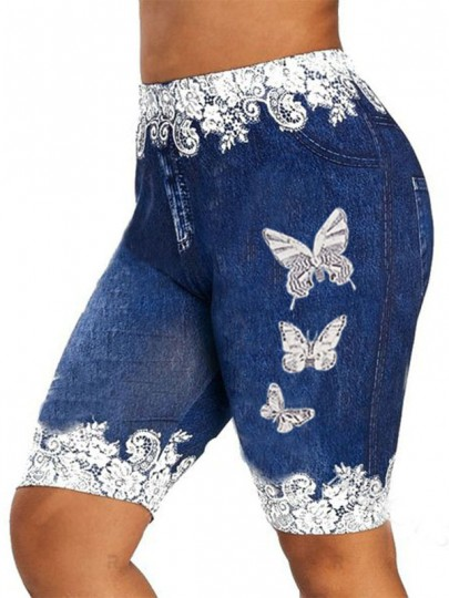 Dark Blue Butterfly Print Pockets Bodycon Casual Sports High Waisted Short Pant