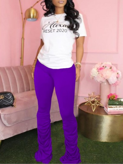 Purple Pleated Scrunch Casual Sports High Waisted Bell Bottomed Flares Long Pant