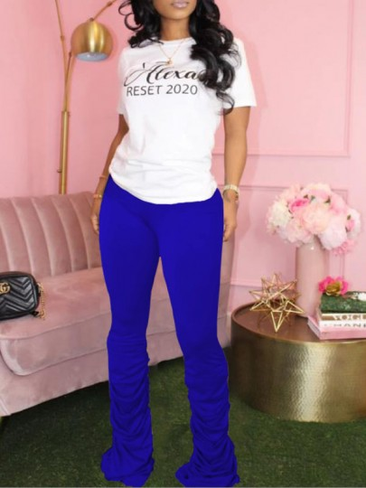 Blue Pleated Scrunch Casual Sports High Waisted Bell Bottomed Flares Long Pant