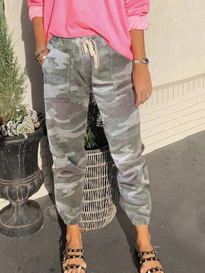 Green Camouflage Drawstring Pockets Harem Casual Sports High Waisted Long Pant