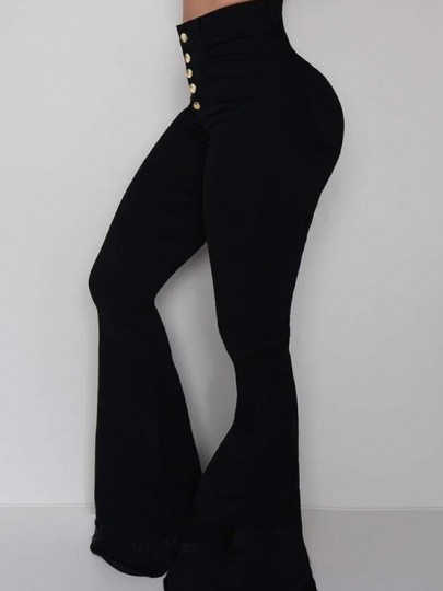 Black Draped Single Breasted High Waisted Extreme Flare Bell Bottom Long Pants