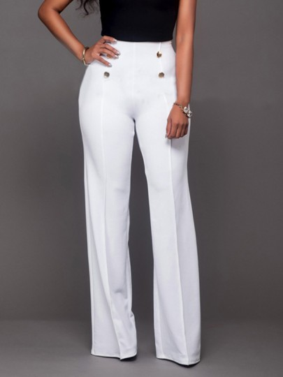 White Double Breasted High Waisted Fashion Elegant Long Pants