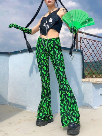 Neon Green Flame Print High Waisted Flared Bell Bottom Gothic Casual Long Pants