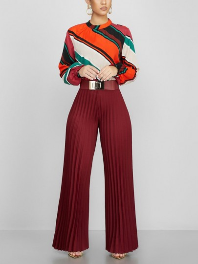 Burgundy Pleated Palazzo Pants Flared Work Casual Long Pants