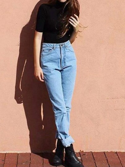 Light Blue Pockets Buttons High Waisted Mom Boyfriend Casual Long Jeans