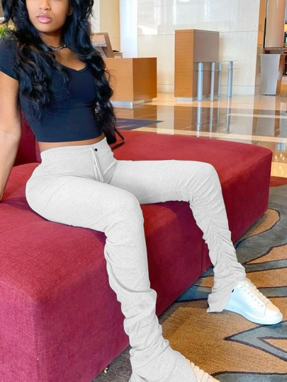 White Pleated High Waisted Casual Bell Bottomed Flares Scrunch Sports Long Pant