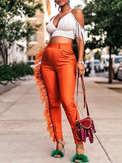Orange Patchwork Feather Tassel Pockets High Waisted Casual Long Pants