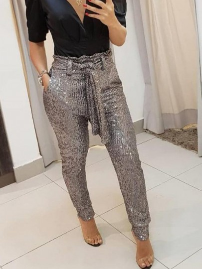 Silver Sashes Sequin High Waisted Elastic Waist Fashion Long Pants
